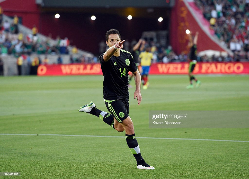 Javier Hernandez of Mexico celebrates after scoring a goal during the International Friendly match between Mexico and Ecuador at the Los Angeles...