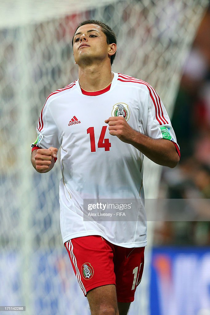 Javier Hernandez of Mexico celebrates after scoring a goal in the second half against Japan during the FIFA Confederations Cup Brazil 2013 Group A match between Japan and Mexico at Estadio Mineirao on June 22, 2013 in Belo Horizonte, Brazil.