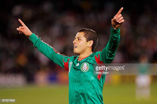 Javier Hernandez of Mexico celebrates after scoring against Bolivia in the first half of a friendly match at Candlestick Park in preparation for the...