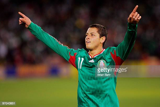 Javier Hernandez of Mexico celebrates after scoring against Bolivia in the first half of a friendly match in preparation for the 2010 FIFA World Cup...