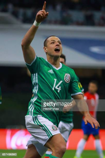 Javier Hernandez of Mexico celebrates after scoring the first goal of his team during the fifth round match between Mexico and Costa Rica as part of...