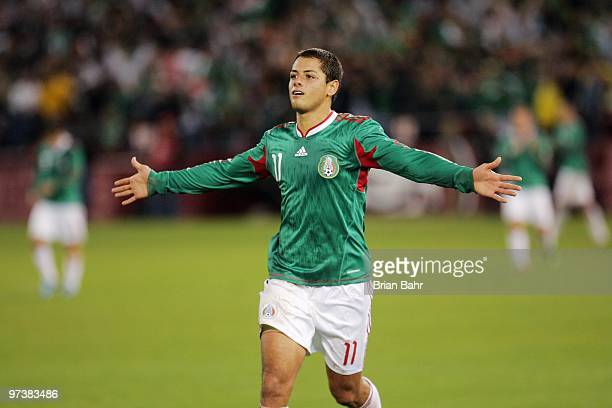 Javier Hernandez of Mexico celebrates his second goal during a friendly match against Bolivia in preparation for the 2010 FIFA World Cup on February...