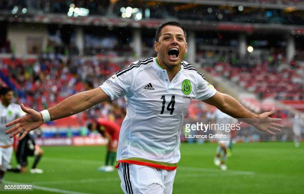Javier Hernandez of Mexico celebrates his sides first goal as Luis Neto of Portugal scored a own goal during the FIFA Confederations Cup Russia 2017...