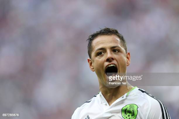 Javier Hernandez of Mexico celebrates scoring his sides first goal during the FIFA Confederations Cup Russia 2017 Group A match between Portugal and...