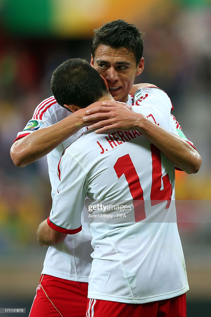 Javier Hernandez of Mexico celebrates with Hector Moreno after scoring a goal in the second half against Japan during the FIFA Confederations Cup Brazil 2013 Group A match between Japan and Mexico at Estadio Mineirao on June 22, 2013 in Belo Horizonte, Brazil.