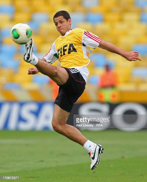 Javier Hernandez of Mexico controls the ball during a training session at the Maracana Stadium during the FIFA Confederations Cup on June 15 2013 in...