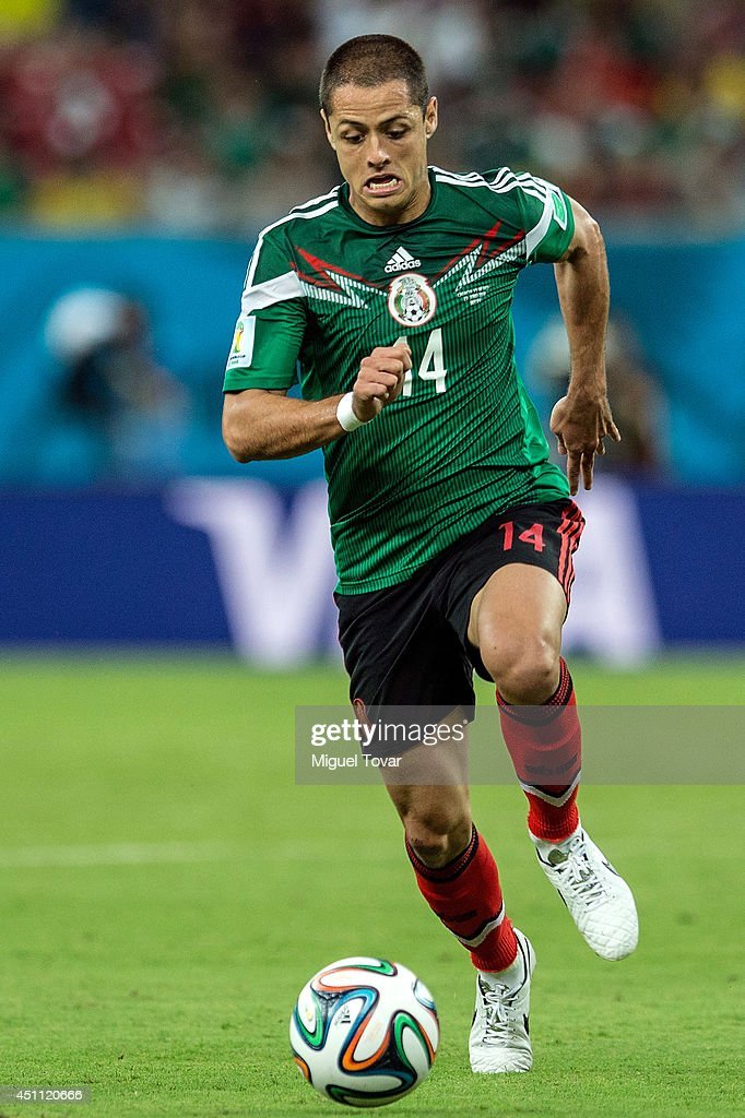 Javier Hernandez of Mexico controls the ball during the 2014 FIFA World Cup Brazil Group A match between Croatia and Mexico at Arena Pernambuco on...