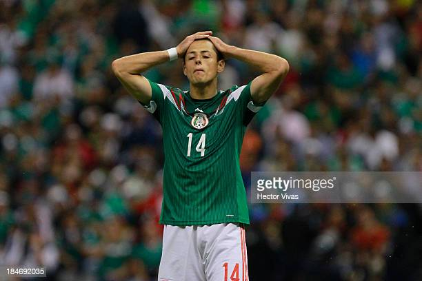 Javier Hernandez of Mexico during the national anthems during a match between Mexico and Panama as part of the CONCACAF Qualifyers at Azteca stadium...