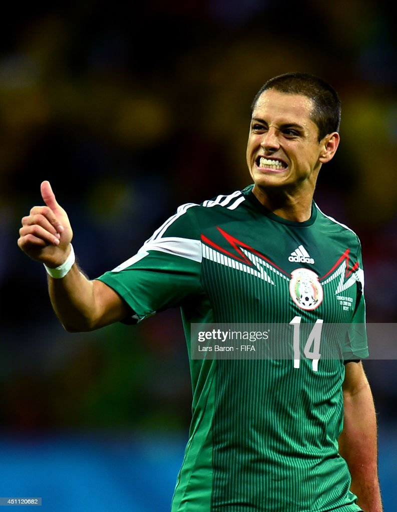 Javier Hernandez of Mexico gestures during the 2014 FIFA World Cup Brazil Group A match between Croatia and Mexico at Arena Pernambuco on June 23, 2014 in Recife, Brazil.