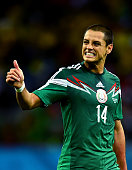 Javier Hernandez of Mexico gestures during the 2014 FIFA World Cup Brazil Group A match between Croatia and Mexico at Arena Pernambuco on June 23...