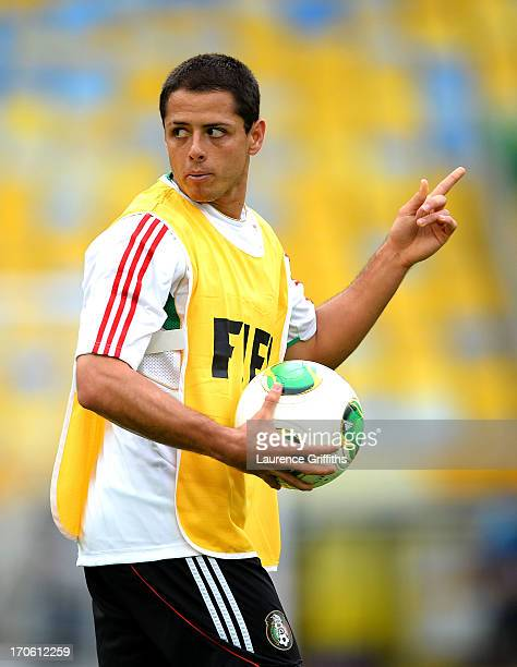 Javier Hernandez of Mexico in action during a training session at the Maracana Stadium on June 15 2013 in Rio de Janeiro Brazil