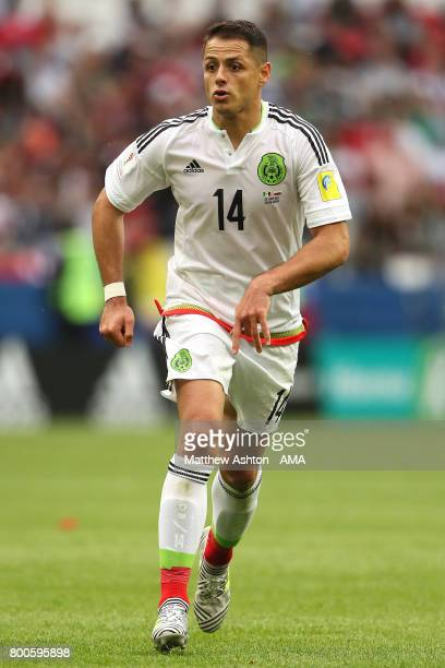 Javier Hernandez of Mexico in action during the FIFA Confederations Cup Russia 2017 Group A match between Mexico and Russia at Kazan Arena on June 24...