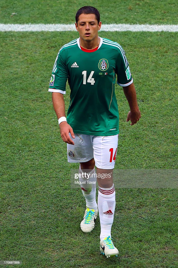 Javier Hernandez of Mexico looks despondent during the FIFA Confederations Cup Brazil 2013 Group A match between Brazil and Mexico at Castelao on June 19, 2013 in Fortaleza, Brazil.