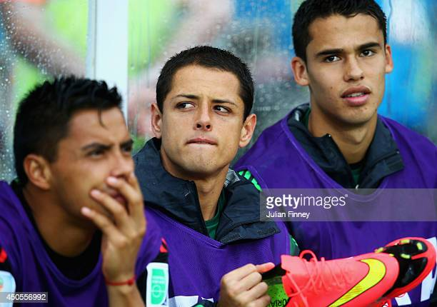 Javier Hernandez of Mexico looks on from the bench during the 2014 FIFA World Cup Brazil Group A match between Mexico and Cameroon at Estadio das...