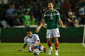 Javier Hernandez of Mexico reacts during a friendly match between Mexico and Honduras at Victor Manuel Reyna Stadium on October 09 2014 in Tuxtla...