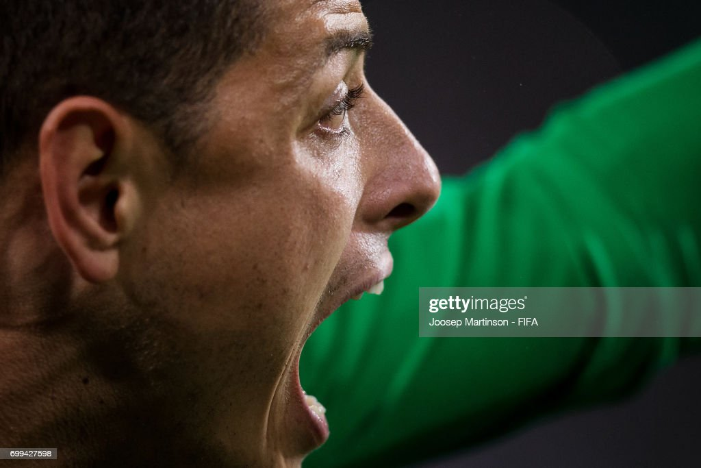 Javier Hernandez of Mexico reacts during the FIFA Confederations Cup Russia 2017 group A football match between Mexico and New Zealand at Fisht Olympic Stadium on June 21, 2017 in Sochi, Russia.