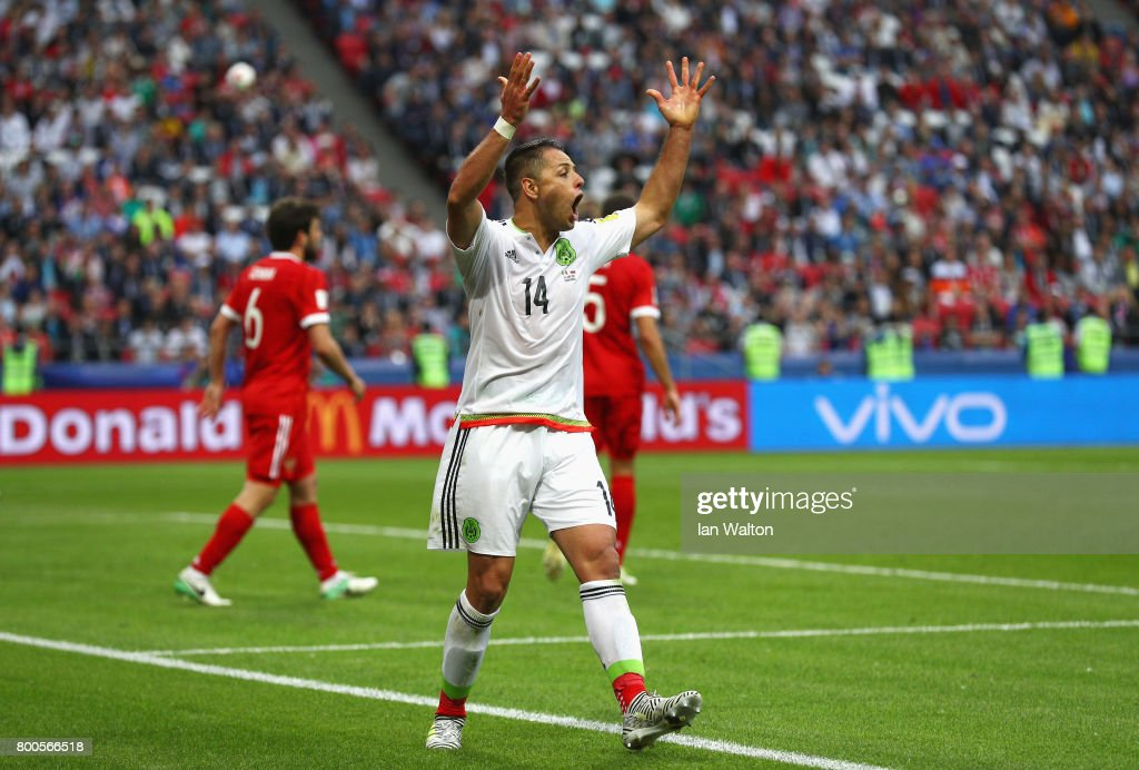 Javier Hernandez of Mexico reacts during the FIFA Confederations Cup Russia 2017 Group A match between Mexico and Russia at Kazan Arena on June 24, 2017 in Kazan, Russia.