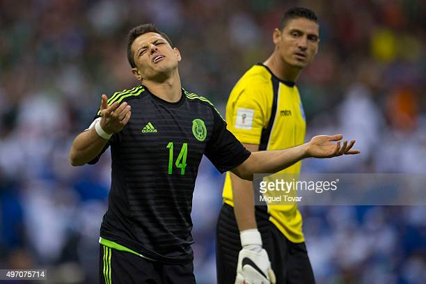 Javier Hernandez of Mexico reacts during the match between Mexico and El Salvador as part of the 2018 FIFA World Cup Qualifiers at Azteca Stadium on...