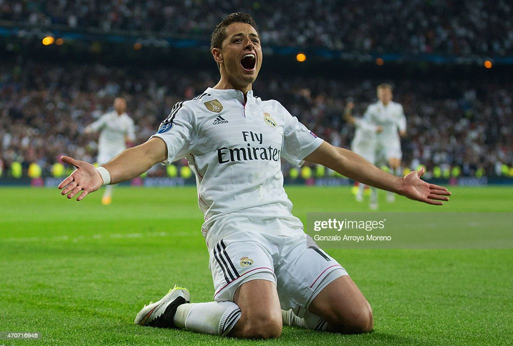 <a gi-track='captionPersonalityLinkClicked' href=/galleries/search?phrase=Javier+Hernandez+-+Soccer+Player&family=editorial&specificpeople=6733186 ng-click='$event.stopPropagation()'>Javier Hernandez</a> of Real Madrid CF celebrates as he scores their first goal during the UEFA Champions League quarter-final second leg match between Real Madrid CF and Club Atletico de Madrid at Bernabeu on April 22, 2015 in Madrid, Spain.