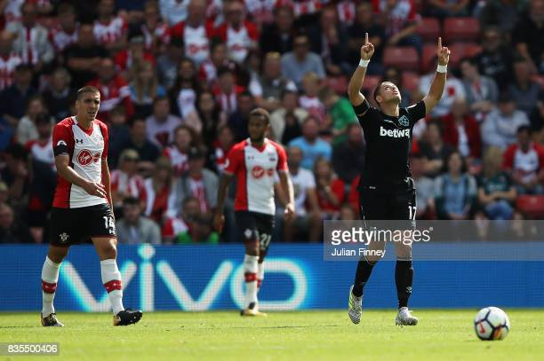 Javier Hernandez of West Ham United celebrates scoring his sides first goal during the Premier League match between Southampton and West Ham United...