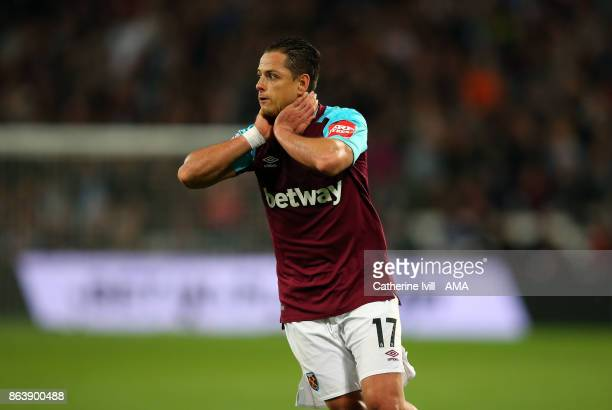 Javier Hernandez of West Ham United reacts after missing a chance during the Premier League match between West Ham United and Brighton and Hove...
