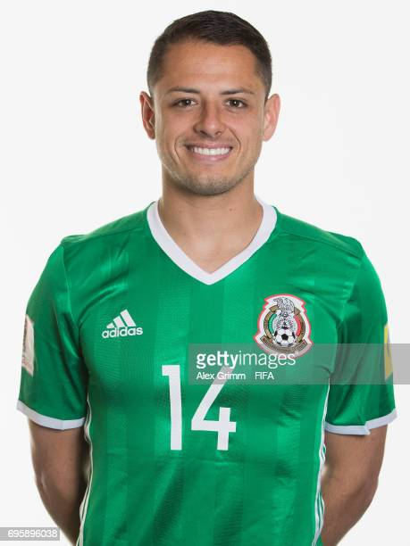 Javier Hernandez poses for a picture during the Mexico team portrait session on June 14 2017 in Kazan Russia
