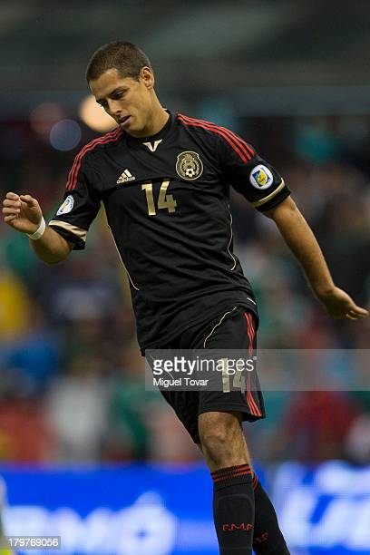 Javier Hernandez reacts during a match between Mexico and Honduras as part of the 15th round of the South American Qualifiers at Azteca Stadium on...