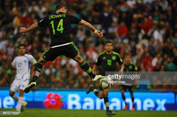 Javier Hernandez tries to kisck the ball to score during the match between Mexico and El Salvador as part of the 2018 FIFA World Cup Qualifiers at...