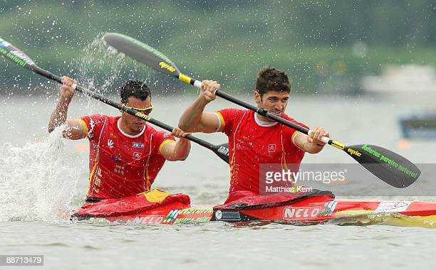 Javier Hernanz and Emilio Llamedo of Spain in action at the K2 1000m mens semifinal during the Canoe Sprint European Championship at the Brandenburg...
