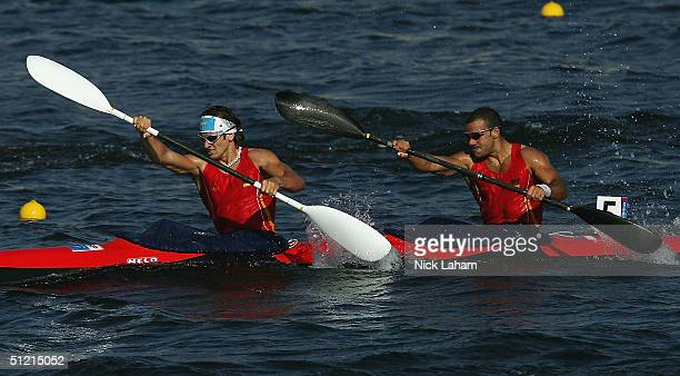 Javier Hernanz and Pablo Banos of Spain compete during the men's K2 class 1000 metre semifinal on August 25 2004 during the Athens 2004 Summer...