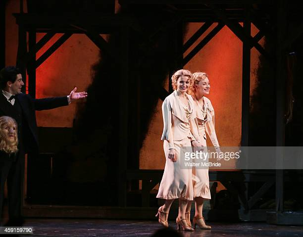 Javier Ignacio Emily Padgett and Erin Davie during the Broadway Opening Night Curtain Call for 'Side Show' at the St James Theatre on November 17...