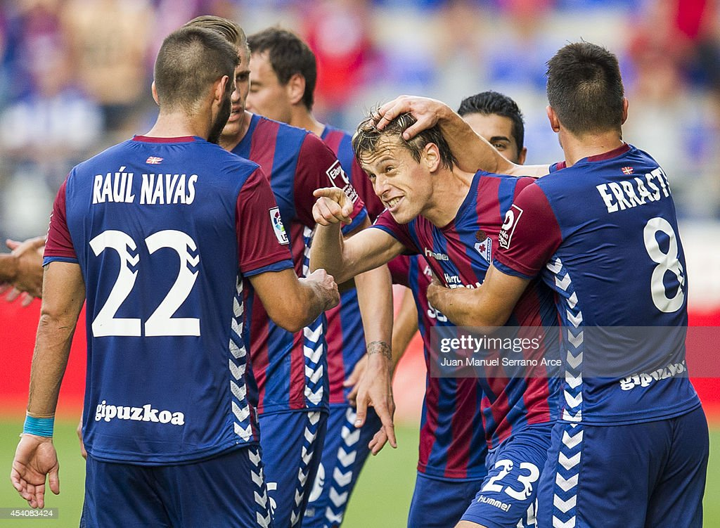 Javier Lara of SD Eibar celebrates after scoring during the La Liga match between SD Eibar and Real Sociedad at Ipurua Municipal Stadium on August 24, 2014 in Eibar, Spain.