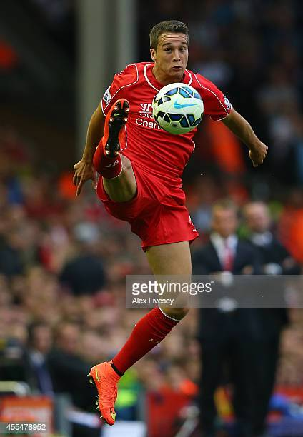 Javier Manquillo of Liverpool during the Barclays Premier League match between Liverpool and Aston Villa at Anfield on September 13 2014 in Liverpool...