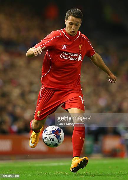 Javier Manquillo of Liverpool during the Capital One Cup Third Round match between Liverpool and Middlesbrough at Anfield on September 23 2014 in...