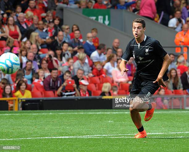 Javier Manquillo of Liverpool in action during a training session at Anfield on August 8 2014 in Liverpool England