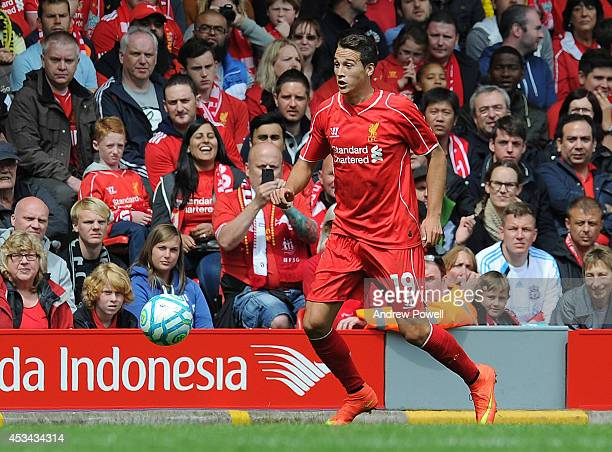 Javier Manquillo of Liverpool in action during Pre Season Friendly match between Liverpool and Borussia Dortmund at Anfield on August 10 2014 in...
