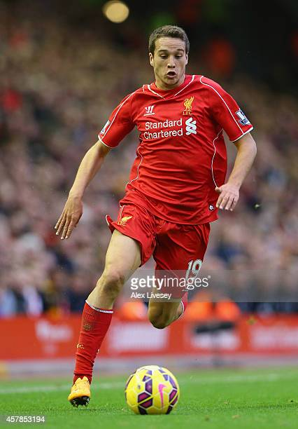 Javier Manquillo of Liverpool runs with the ball during the Barclays Premier League match between Liverpool and Hull City at Anfield on October 25...