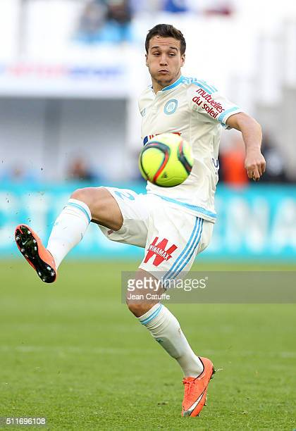 Javier Manquillo of OM in action during the French Ligue 1 match between Olympique de Marseille and AS SaintEtienne at New Stade Velodrome on...