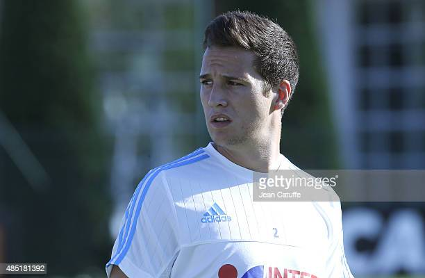Javier Manquillo of OM looks on during Olympique de Marseille's training session at Robert LouisDreyfus Training Camp at La Commanderie on August 24...