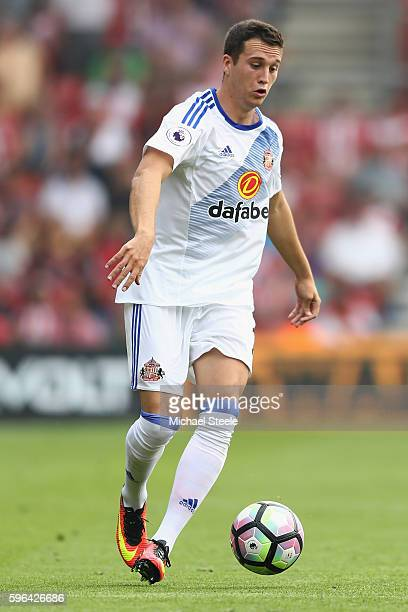 Javier Manquillo of Sunderland during the Premier League match between Southampton and Sunderland at St Mary's Stadium on August 27 2016 in...