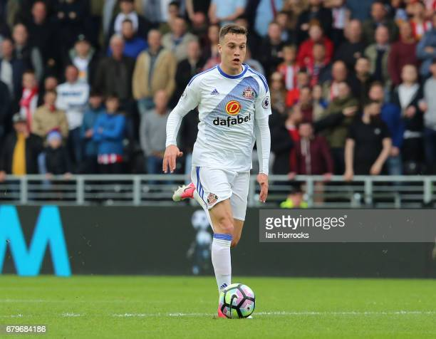 Javier Manquillo of Sunderland during the Premier League match between Hull City and Sunderland at KCOM Stadium on May 6 2017 in Hull England