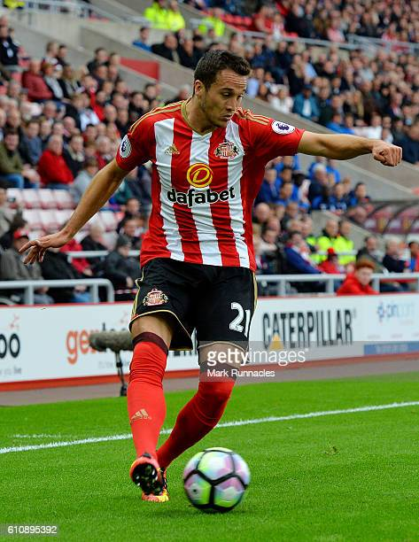 Javier Manquillo of Sunderland in action during the Premier League match between Sunderland FC and Crystal Palace FC at Stadium of Light on September...