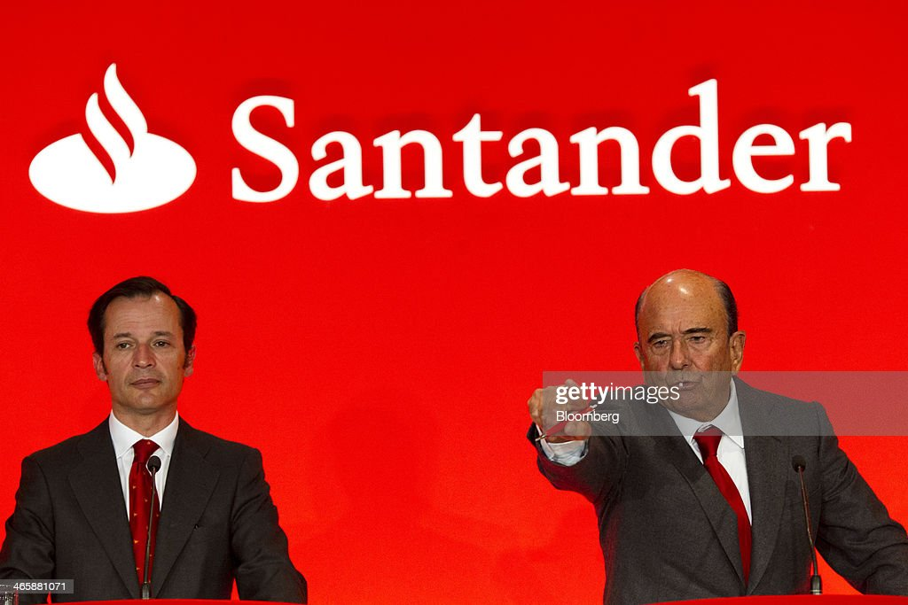 Javier Marin, chief executive officer of Banco Santander SA, left, pauses as Emilio Botin, chairman of Banco Santander SA, takes questions during a news conference to announce fourth-quarter earnings at the company's headquarters in Madrid, Spain, on Thursday, Jan. 30, 2014. Santander, Spain's biggest bank, is cutting costs and allocating funds to lending as it prepares for economic growth in Spain following a five-year property bust. Photographer: Angel Navarrete/Bloomberg via Getty Images
