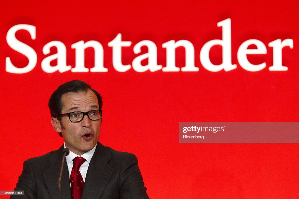 Javier Marin, chief executive officer of Banco Santander SA, speaks during a news conference to announce fourth-quarter earnings at the company's headquarters in Madrid, Spain, on Thursday, Jan. 30, 2014. Santander, Spain's biggest bank, is cutting costs and allocating funds to lending as it prepares for economic growth in Spain following a five-year property bust. Photographer: Angel Navarrete/Bloomberg via Getty Images