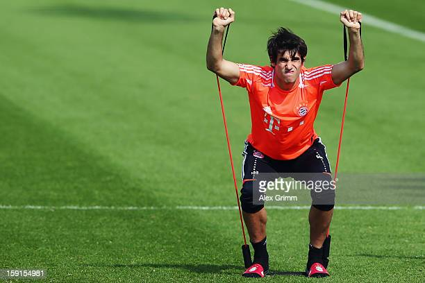 Javier Martinez exercises during a Bayern Muenchen training session at the ASPIRE Academy for Sports Excellence on January 9 2013 in Doha Qatar