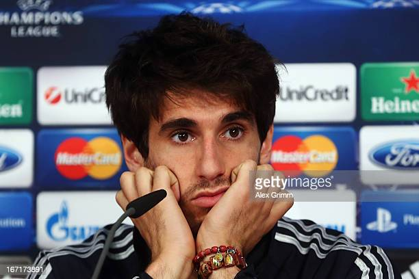 Javier Martinez looks on during a Bayern Muenchen press conference ahead of their UEFA Champions League Semi Final first leg match against FC...