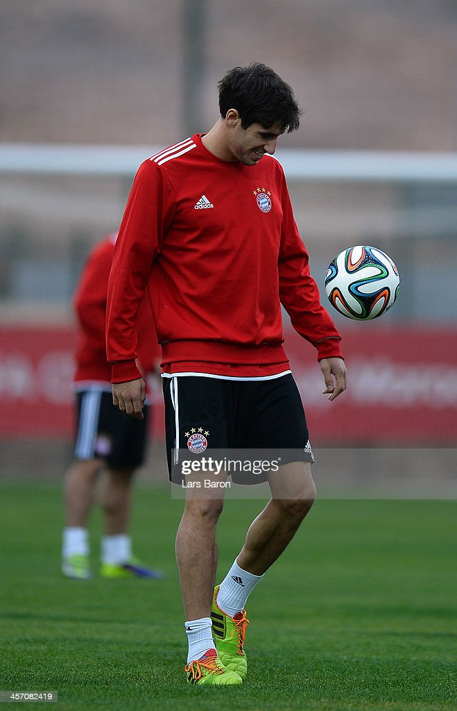 Javier Martinez looks on during a Bayern Muenchen training session for the FIFA Club World Cup next to Agadir Stadium on December 16, 2013 in Agadir, Morocco.