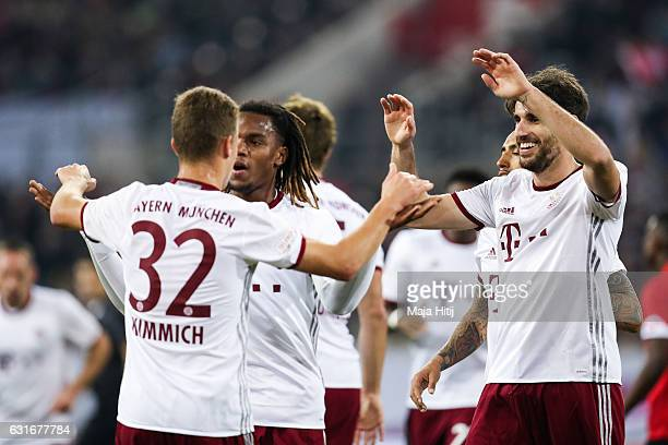 Javier Martinez of Bayern celebrates with his teammates after scoring his team's second goal during Final Match between Bayern and 1 FSV Mainz 05...
