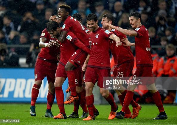 Javier Martinez of Muenchen celebrates with team mates after scoring his teams second goal during the Bundesliga match between FC Schalke 04 and FC...