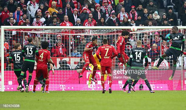 Javier Martinez of Muenchen heads his team's 2nd goal during the Bundesliga match between Bayern Muenchen and Werder Bremen at Allianz Arena on...